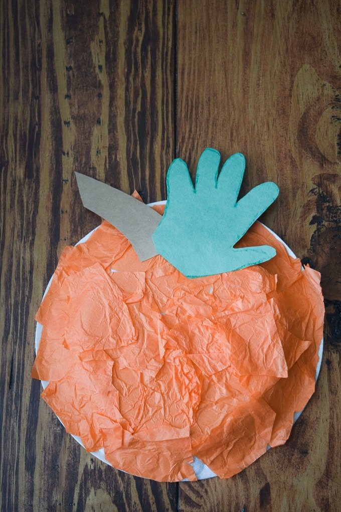 Handprint Pumpkin Craft by This Little Home of Mine