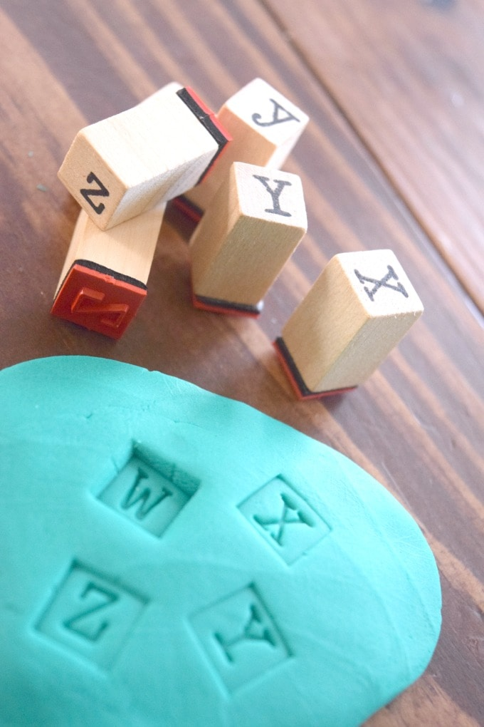 Letter Stamping with Playdoh