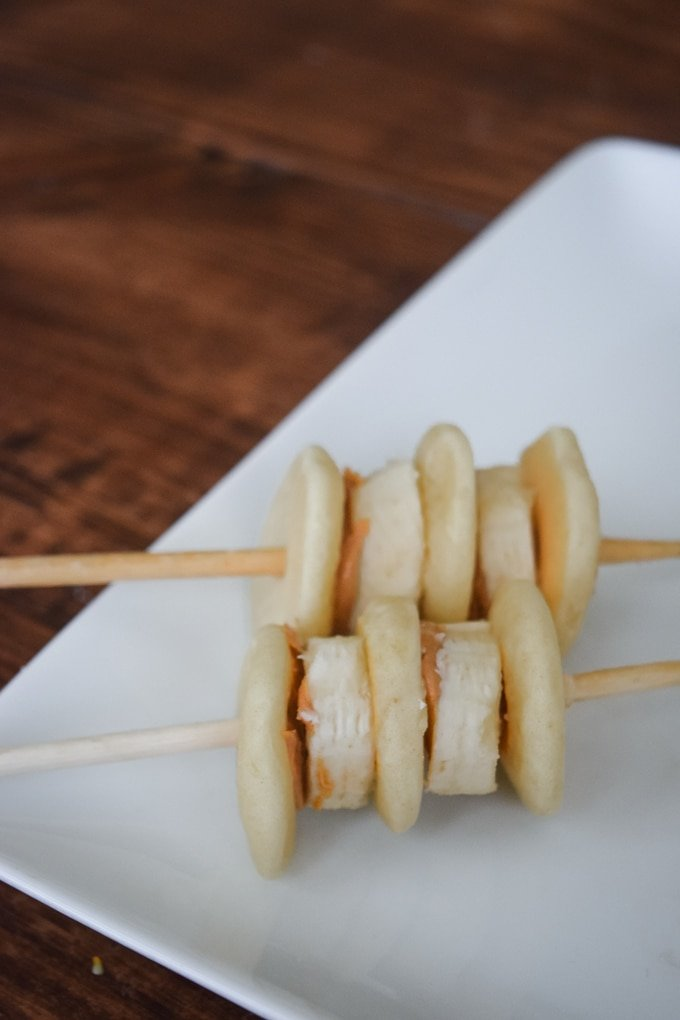 Peanut Butter and Banana Pancakes on a Stick