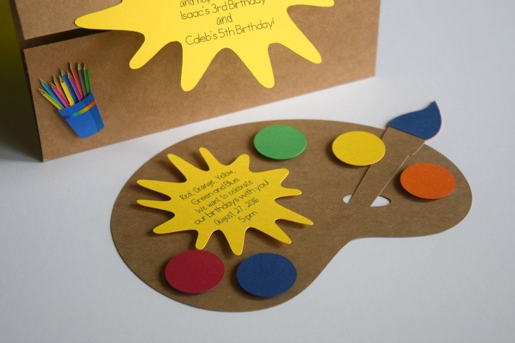 Painting Birthday Party Invitations: Art Party for Kids by This Little Home of Mine
