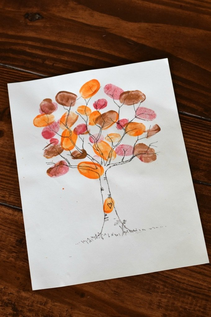 Thanksgiving Day Activities for Kids - Family Fingerprint Tree by This Little Home of Mine