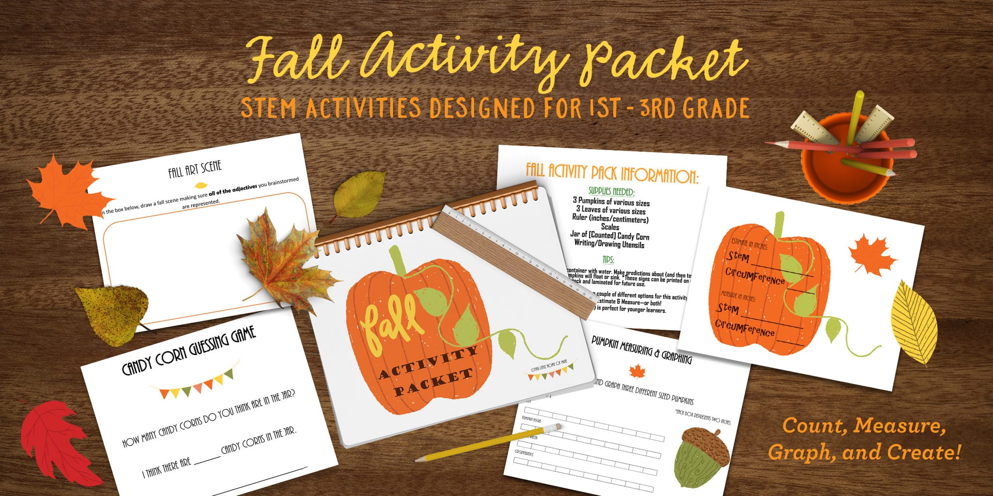 Fall Activity Packet: STEM Activities for 1st-3rd Grade by This Little Home of Mine