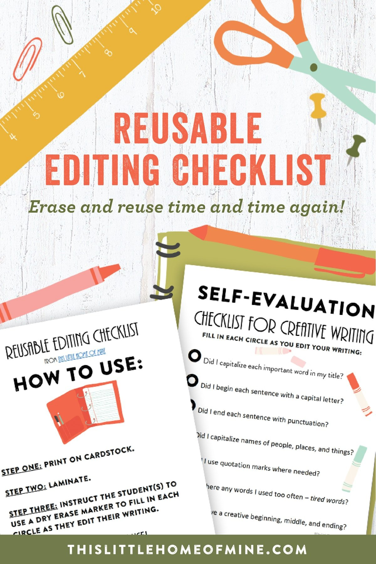 Creative Writing: Reusable Editing Checklist by This Little Home of Mine