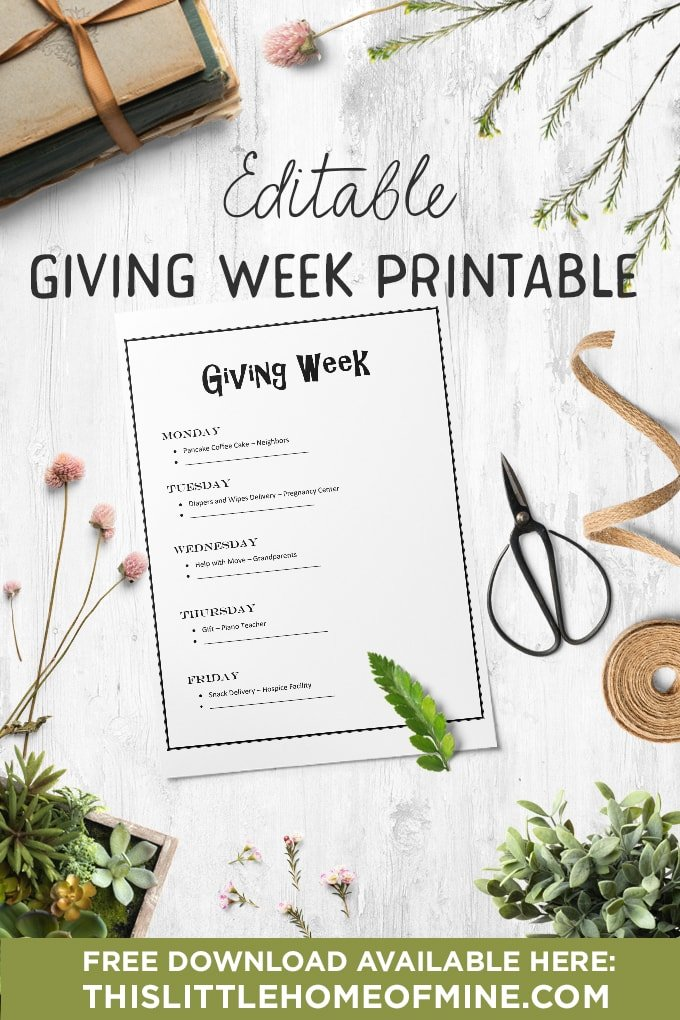 Giving Week Printable - by This Little Home of Mine