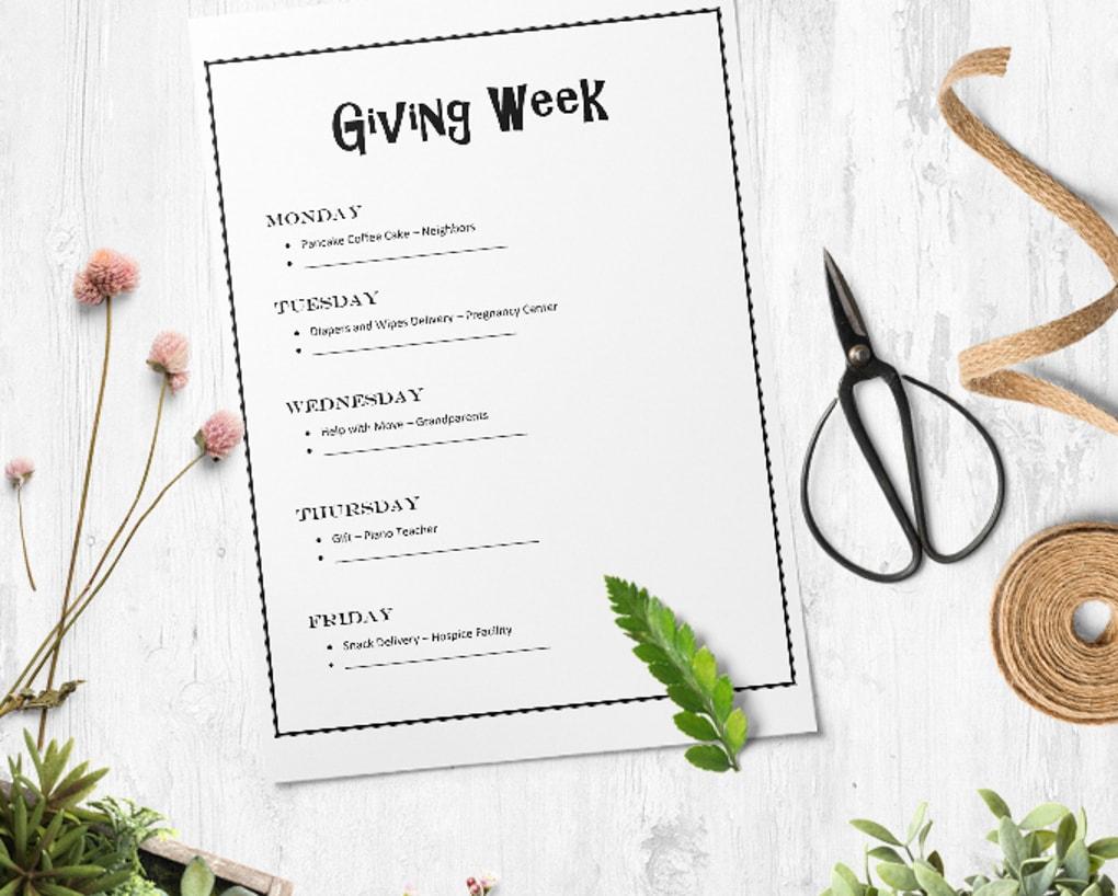 Giving Week Printable
