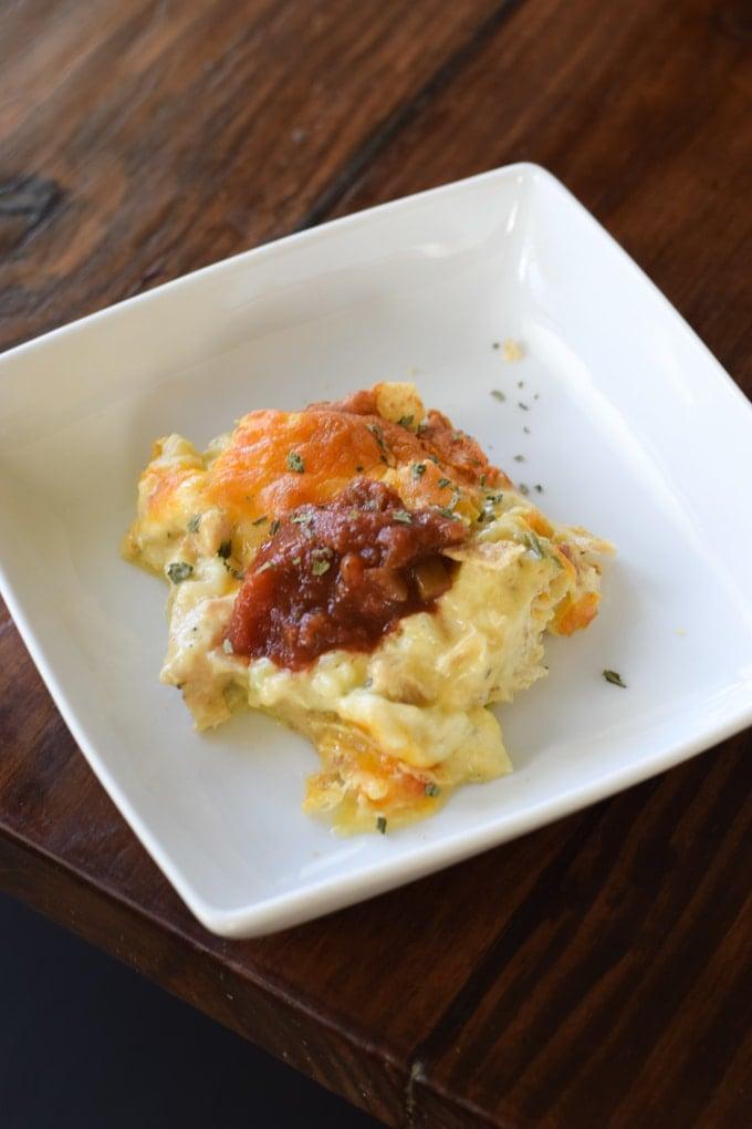 Creamy Chicken Tortilla Chip Casserole - This Little Home of Mine